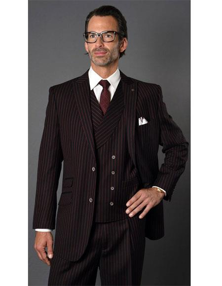 Mens Black ~ Red Single Breasted Two Button Striped Pattern Suit