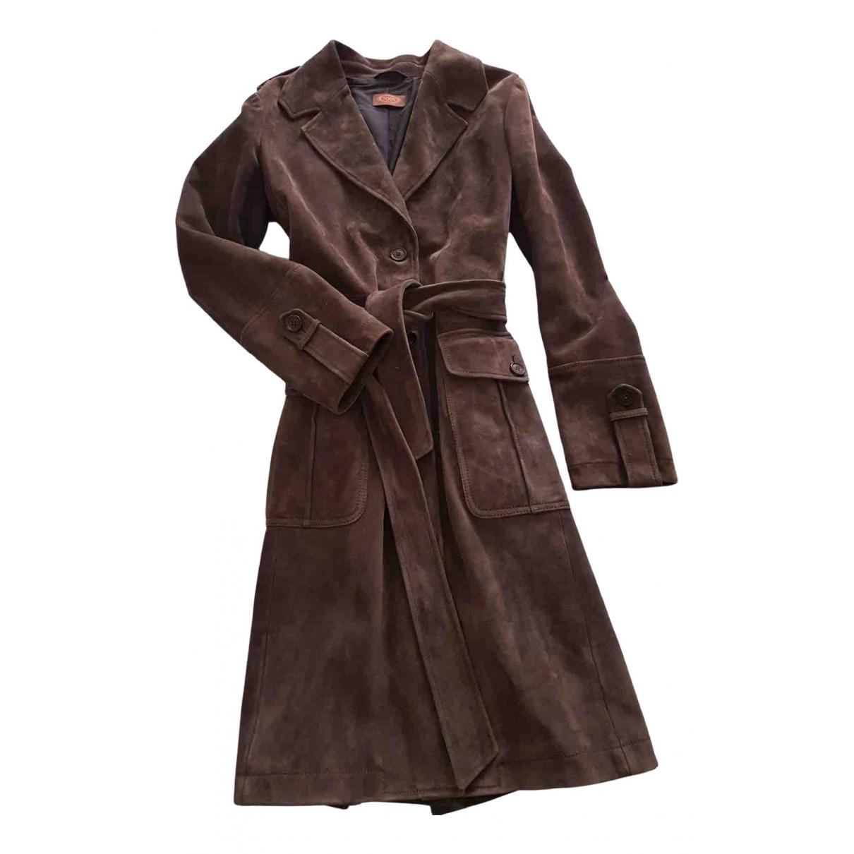 Tods - Veste   pour femme en cuir - gris