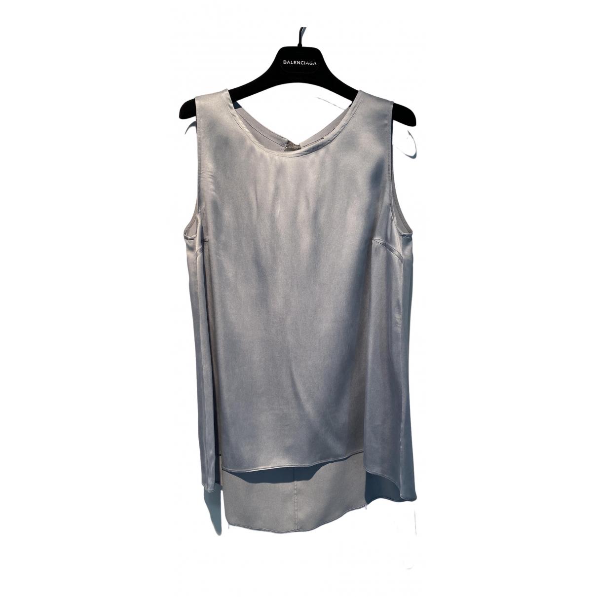 Brunello Cucinelli - Top   pour femme en soie - bleu