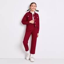 Girls Flap Pocket Solid Jacket & Pants Set