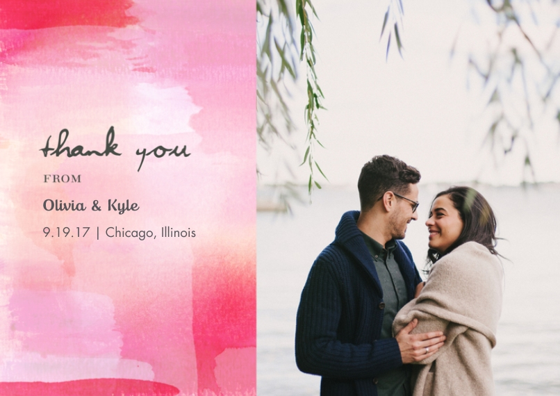 Wedding Thank You 5x7 Cards, Premium Cardstock 120lb with Rounded Corners, Card & Stationery -La Vie en Rose Wedding - Thank You