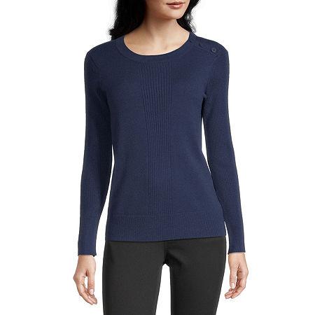 Liz Claiborne Womens Round Neck Long Sleeve Pullover Sweater, Petite Large , Blue