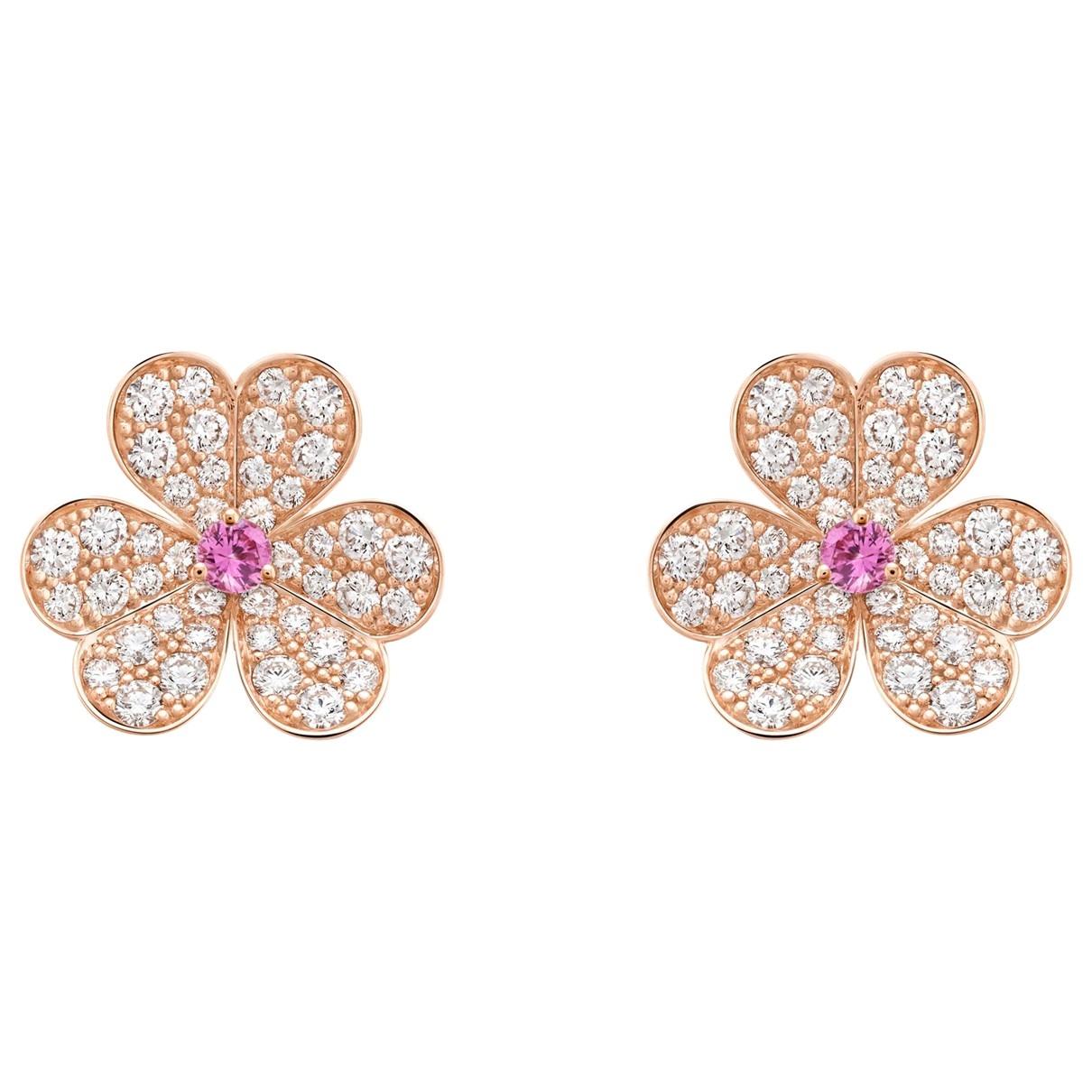 Van Cleef & Arpels Fleurs OhrRing in  Rosa Rosegold