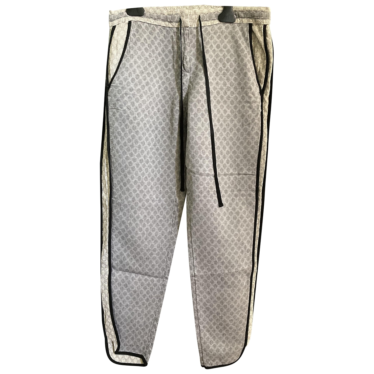 Non Signé / Unsigned \N Grey Cotton Trousers for Women XS International