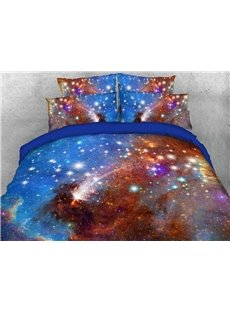 Blue Galaxy Soft Warm Duvet Cover Set 4-Piece 3D Galaxy Bedding Set