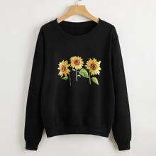 Sweatshirt mit Sonnenblumen Muster und sehr tief angesetzter Schulterpartie