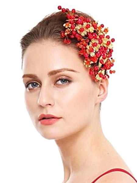 Milanoo Tocados de boda Accesorios para el cabello nupcial rojo