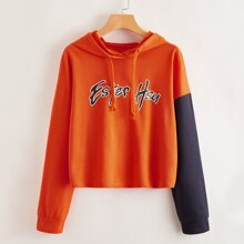 Contrast Sleeve Letter Graphic Hoodie