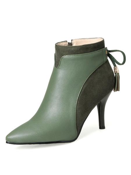 Milanoo High Heel Booties Women Ankle Boots Hunter Green Pointed Toe Booties