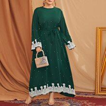 Maxi Kleid mit Guipure Spitzeneinsatz und Perlen