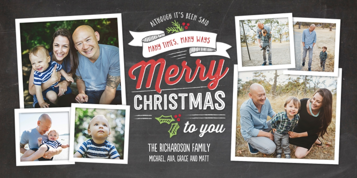 Christmas Photo Cards Flat Glossy Photo Paper Cards with Envelopes, 4x8, Card & Stationery -Christmas Red Merry