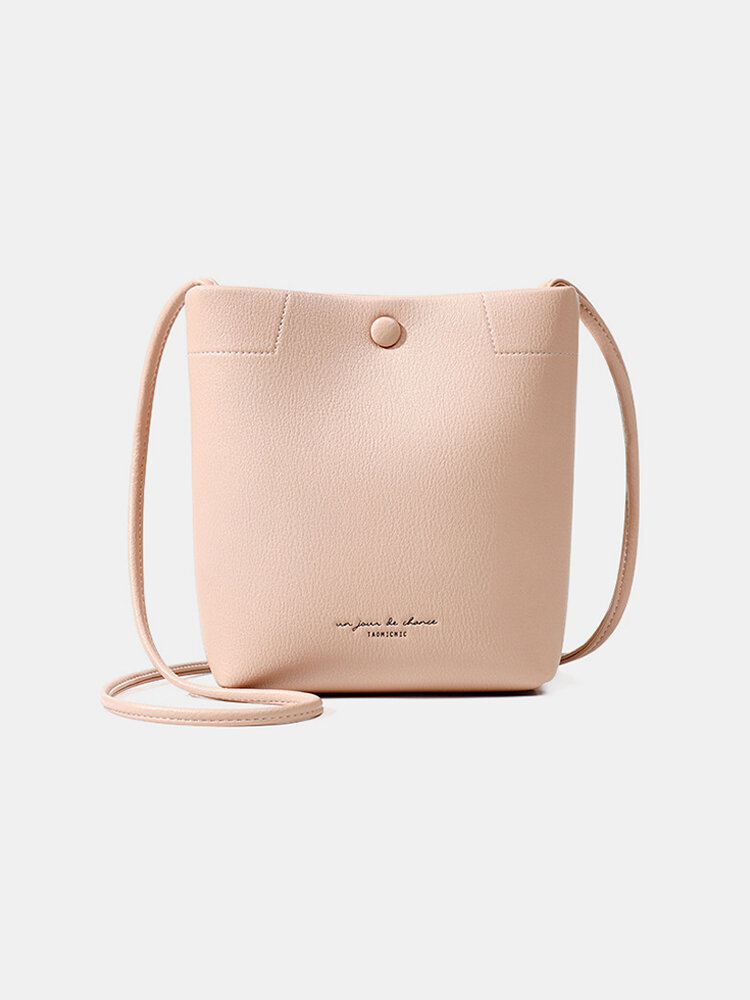 Women PU Large Capacity Bucket Bag Crossbody Bag