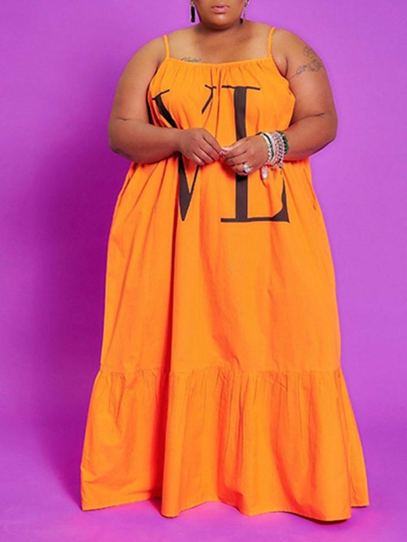 Ericdress Sleeveless Floor-Length Print A-Line Letter Dress