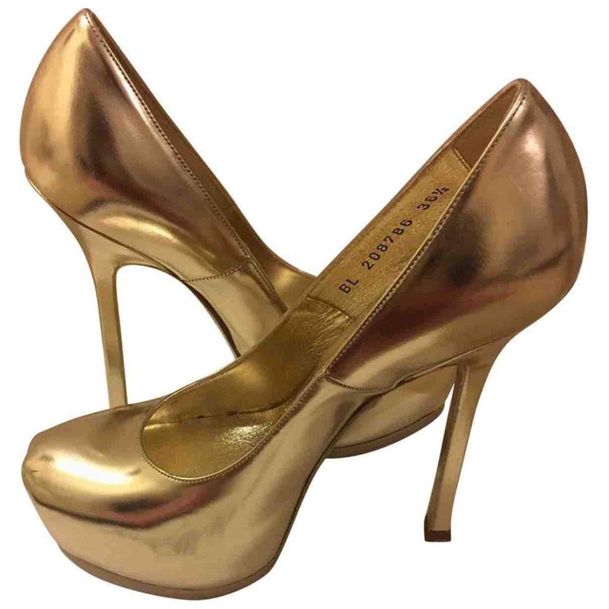 Yves Saint Laurent - Escarpins Trib Too pour femme en cuir - dore