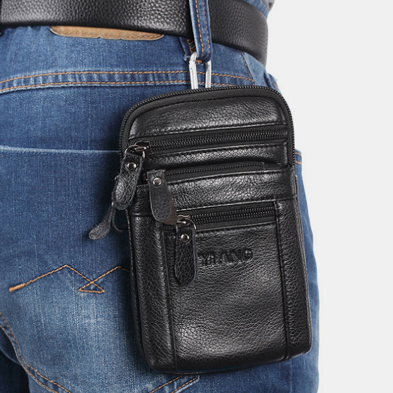 Men 6.3 Inch Phone Casual Genuine Leather Belt Phone Bag Crossbody Bag