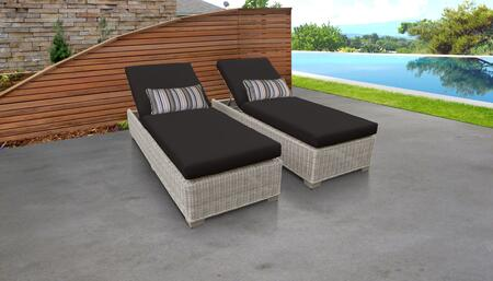 Coast Collection COAST-2x-BLACK Set of 2 Chaises - Beige and Black