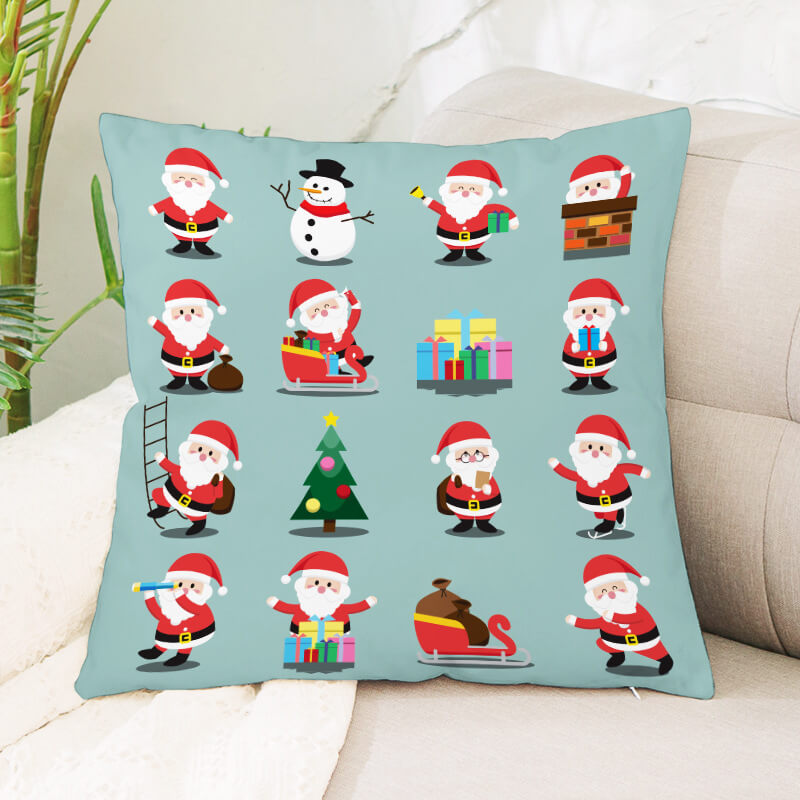 LW Lovely Christmas Day Print Blue Decorative Pillow Case