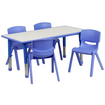 YU-YCY-060-0034-RECT-TBL-BLUE-GG 23.63''W x 47.25''L Adjustable Rectangular Blue Plastic Activity Table Set with 4 School Stack