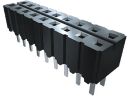 Samtec , CES 2.54mm Pitch 10 Way 2 Row Straight PCB Socket, Through Hole, Solder Termination (44)