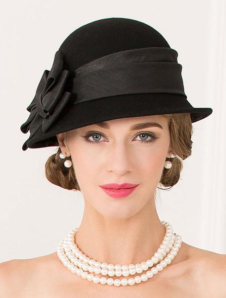 Milanoo Retro Wool Hat Halloween Women Black Vintage Headpiece Bows Royal Headdress