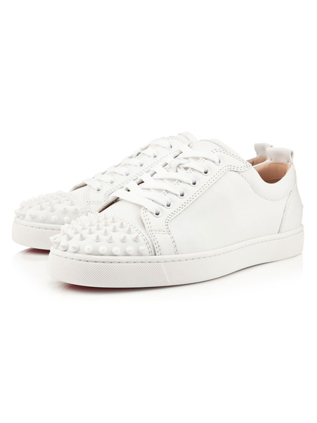 Milanoo White Mens Sneakers 2020 with Rivet Studded Low Top Cowhide Leather Skate Shoes