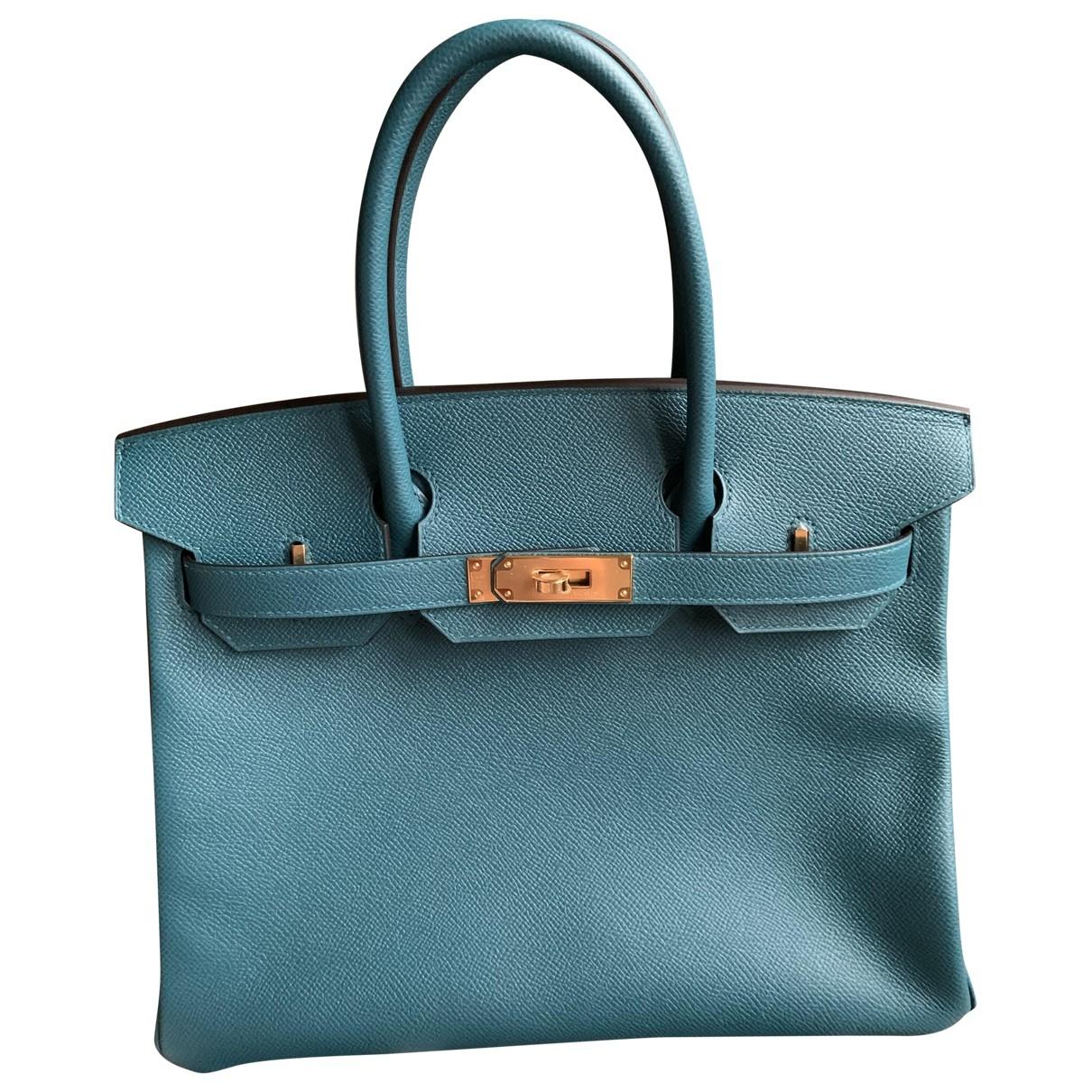 Hermes - Sac a main Birkin 30 pour femme en cuir - turquoise