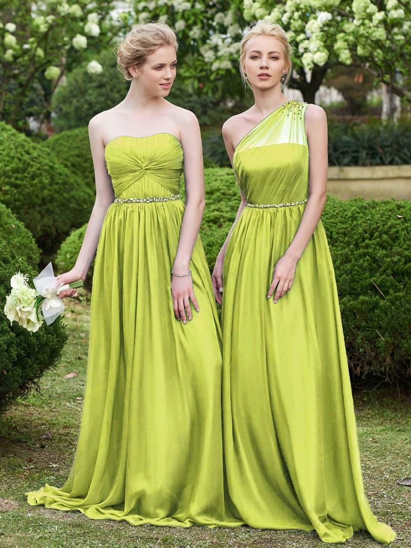 Ericdress One Shoulder Beading Long Bridesmaid Dress