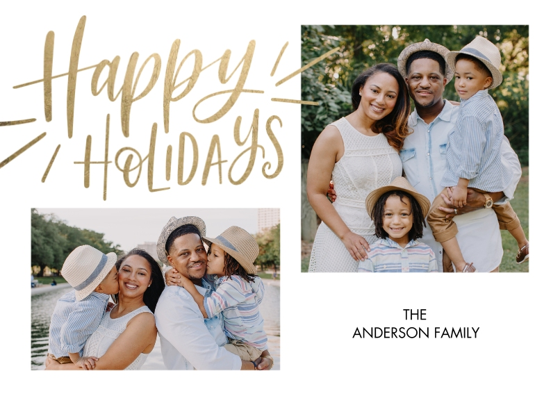 Holiday Photo Cards 5x7 Cards, Premium Cardstock 120lb with Elegant Corners, Card & Stationery -Holiday Gold Happy by Tumbalina