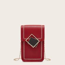 Stitch Trim Flap Chain Phone Bag