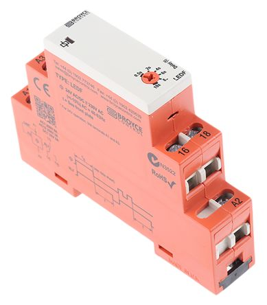 Broyce Control SPDT Timer Relay - 0.5 → 10 s, 1 Contacts, True Delay Off, DIN Rail