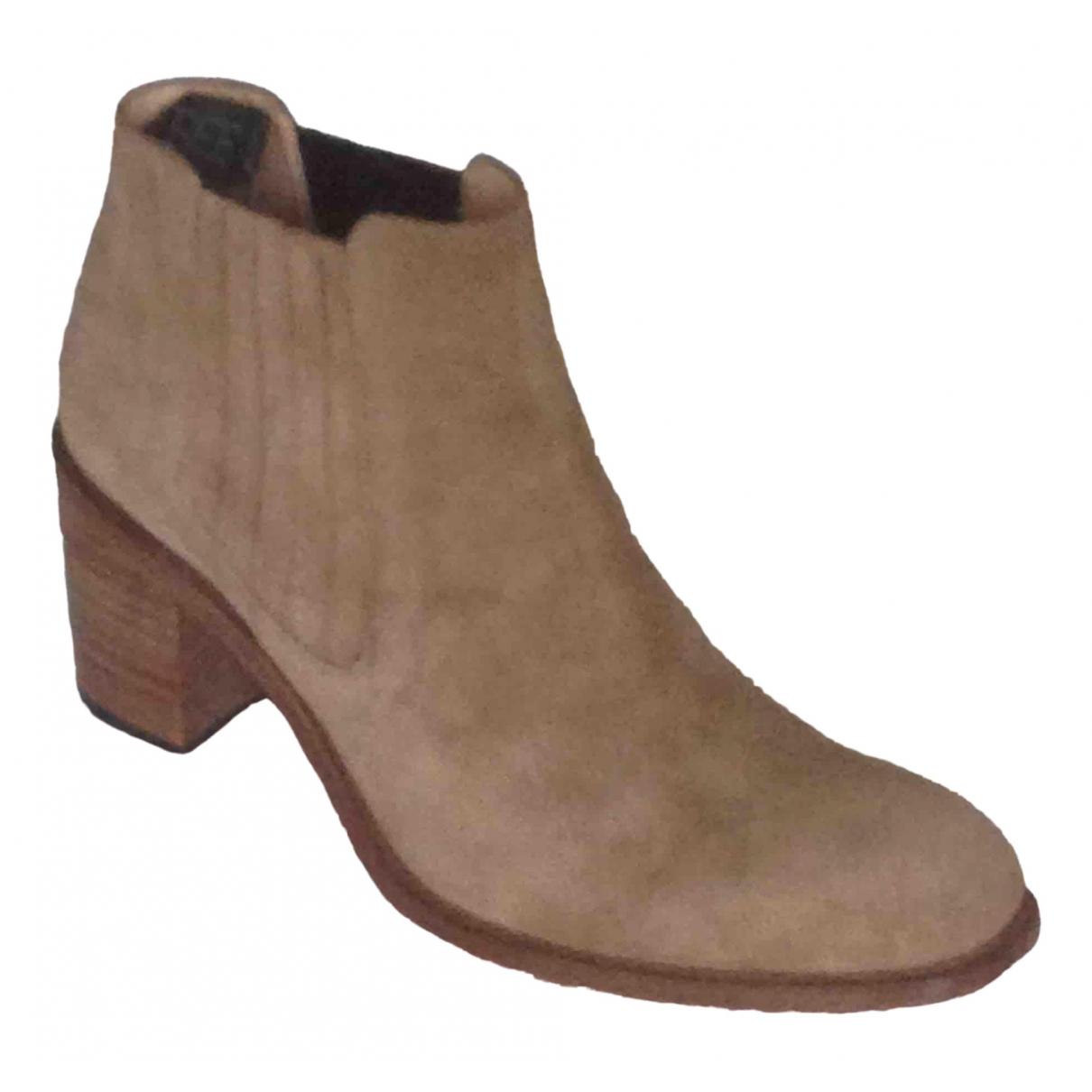 Free Lance - Boots   pour femme en suede - beige
