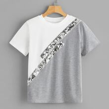 Color-block Sequin Panel Tee
