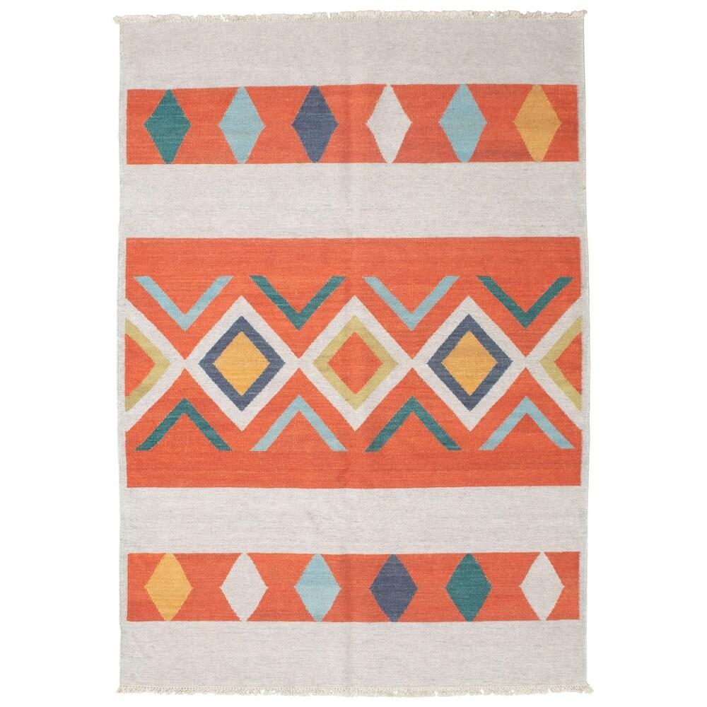 ECARPETGALLERY  Anatolian FW Copper Wool Kilim - 5'8 x 8'1 (Dark Copper - 5'8 x 8'1)