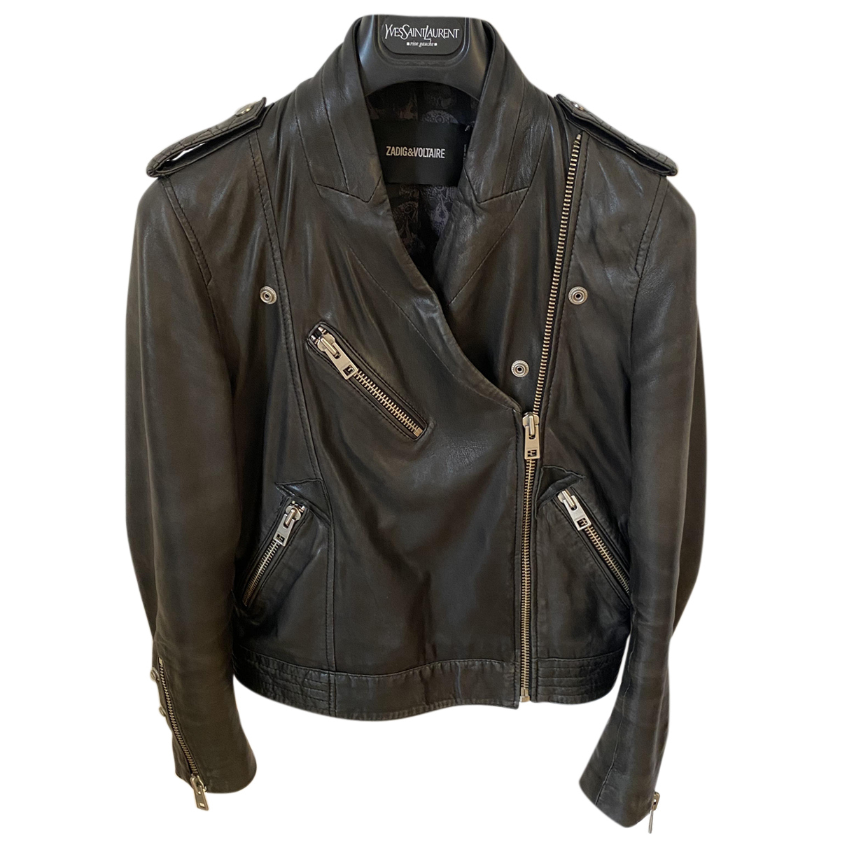 Zadig & Voltaire N Black Leather Leather jacket for Women S International