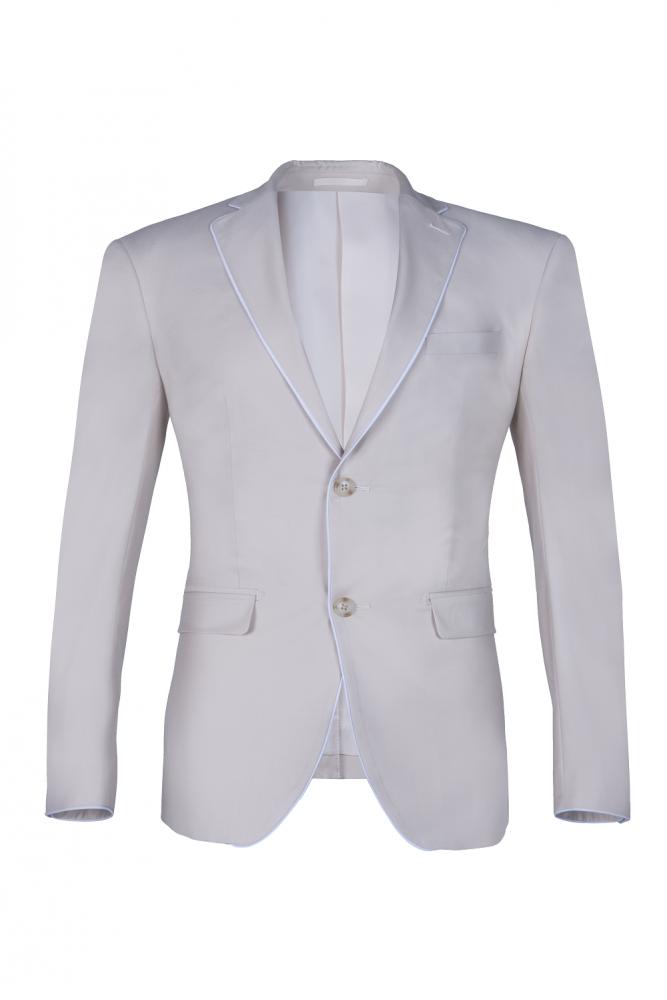 Fashion Peak Lapel Silver traje de boda de un solo pecho para hombres Back Vent