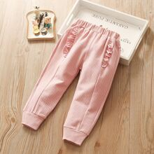 Pantalones de niñitas Volante fruncido A rayas Casual