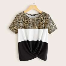 Plus Leopard Panel Twist Hem Colorblock Tee