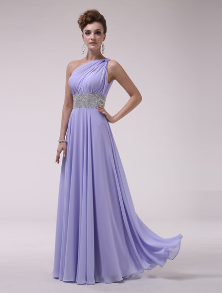 Milanoo One-Shoulder Bridesmaid Dress With Beaded