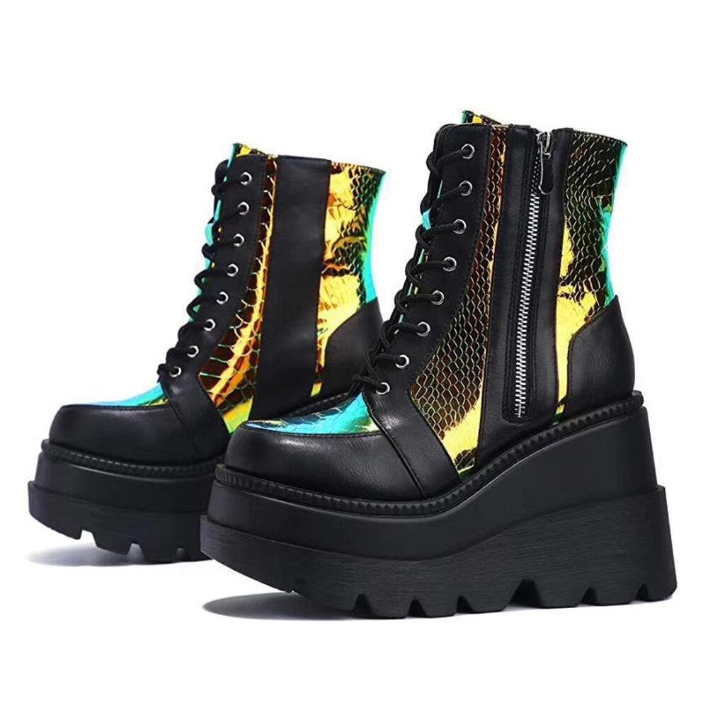 Plus Size Women Fashion Platform Wedge Heel Walking Shoes Lace Up Boots