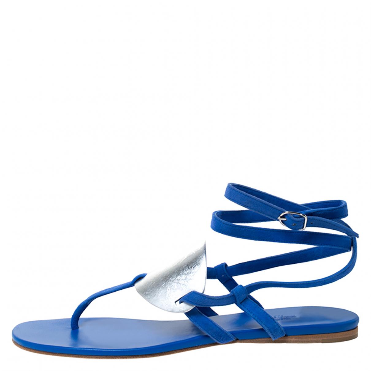 Hermès \N Blue Suede Flats for Women 9 US