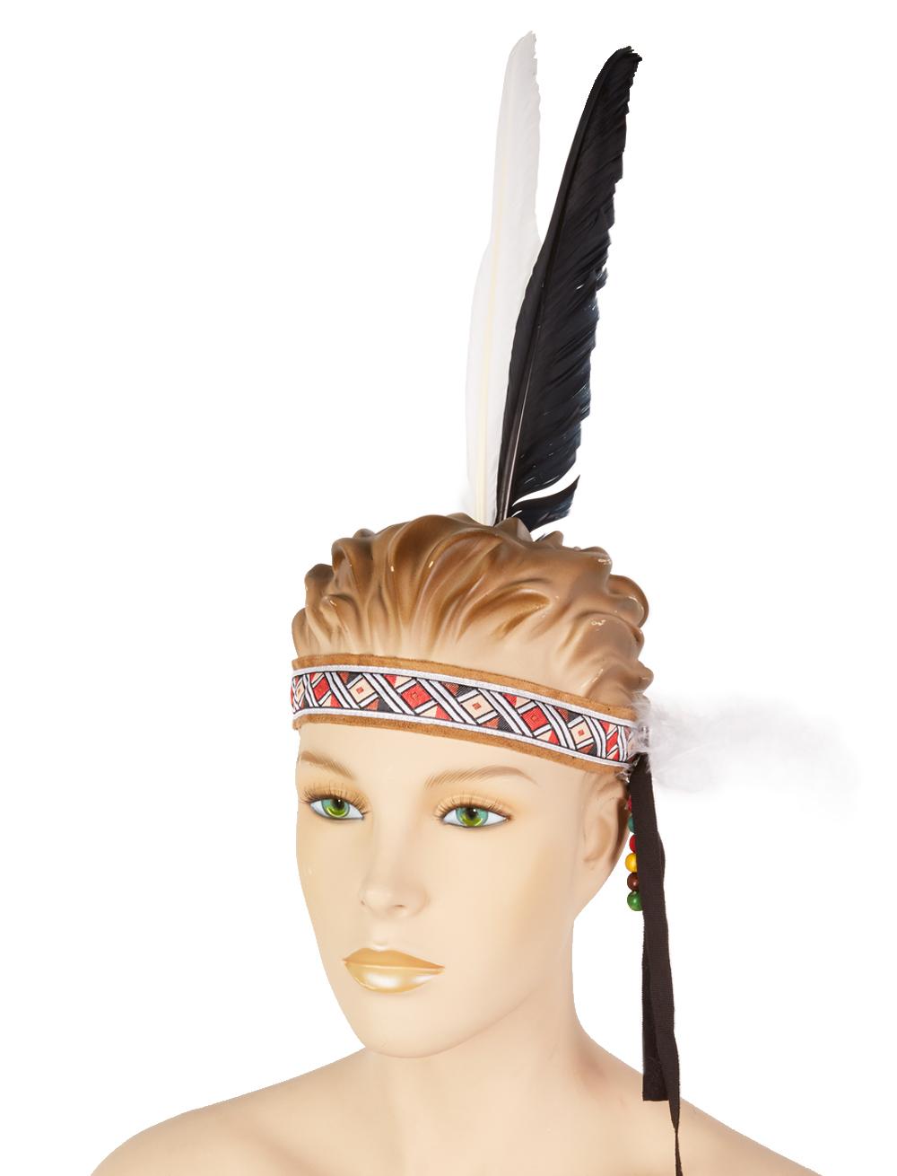 Kostuemzubehor Stirnband Indianer beige