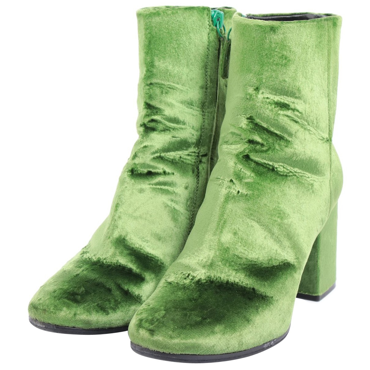 Balenciaga - Bottes   pour femme en velours - vert