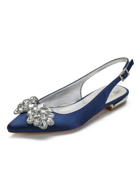 """Milanoo Zapatos de novia de marfil Piedras de saten punta estrecha Piedras planas 0.6 """"Zapatos de novia"""