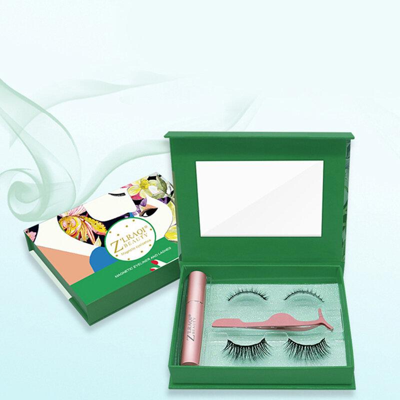 Magnetic False Eyelashes Set Thick Curling 2 Pair 3D Magnetic Eyelashes Liquid Eyeliner Tweezers Kit