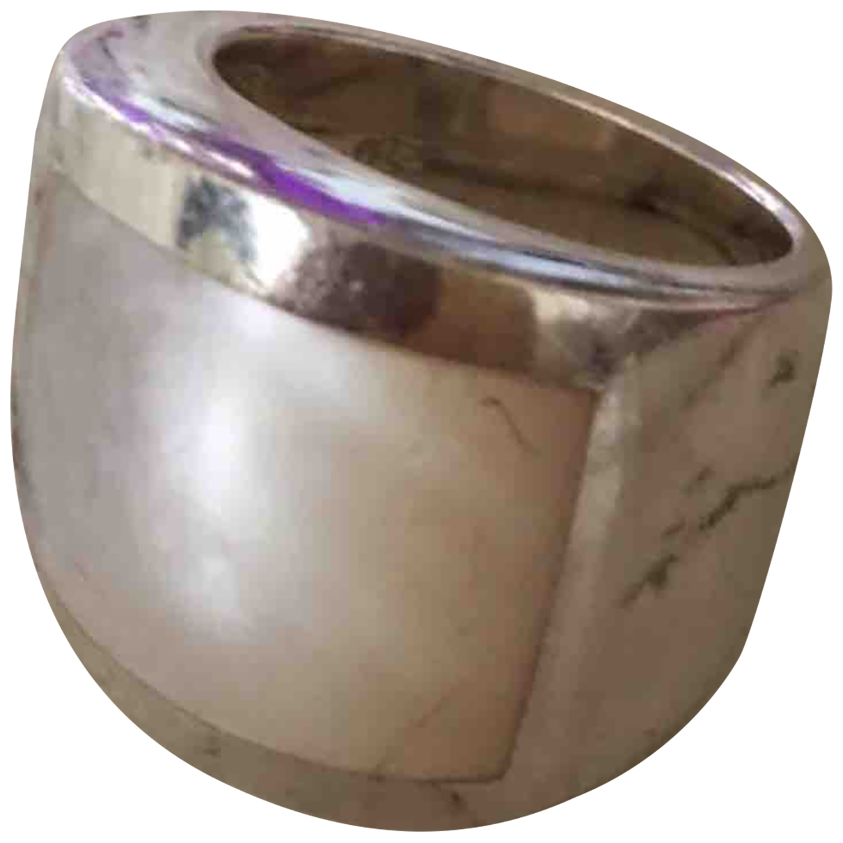 Non Signe / Unsigned Nacre Ring in  Silber Silber