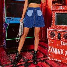 O-ring Zipper Front Corduroy Skirt