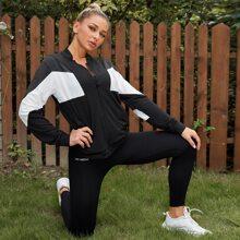Sportliche Jacke mit Farbblock und Reissverschluss