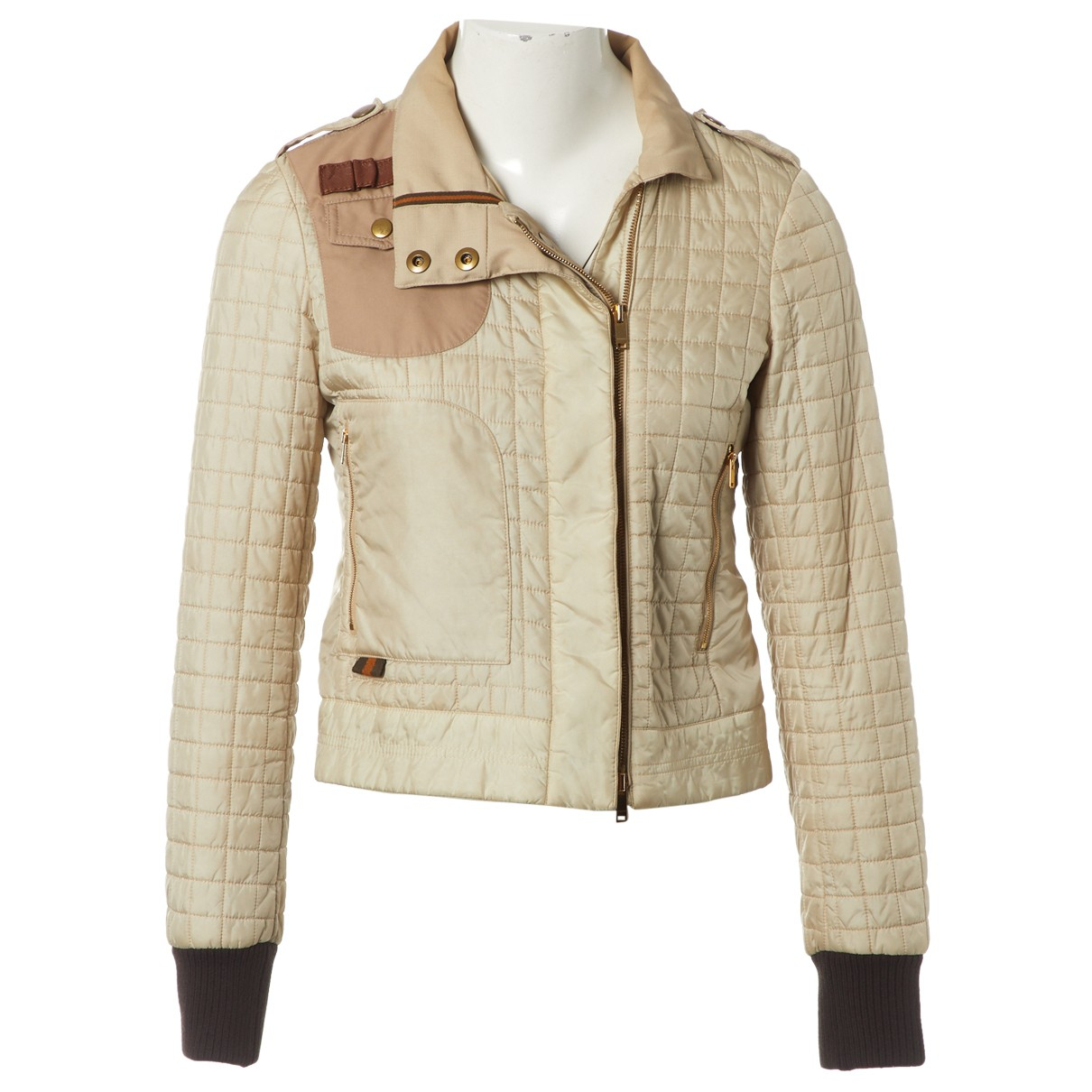Gucci \N Lederjacke in  Beige Synthetik