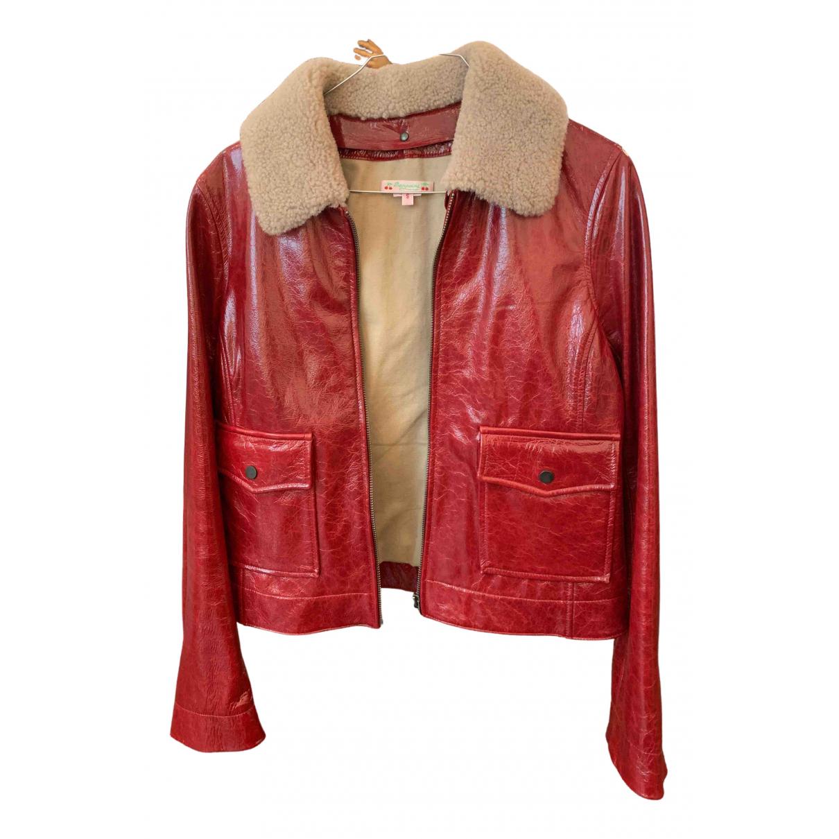 Bonpoint - Veste   pour femme en cuir - rouge