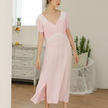 Vestido de pijama con cordon trasero con encaje en contraste